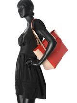 Shoulder Bag A4 Adeline Leather Lancaster Red adeline 527-13-vue-porte