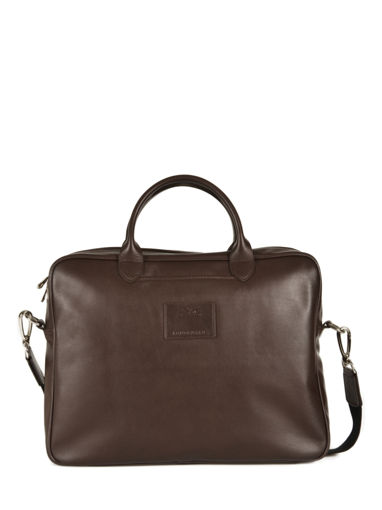 Longchamp Baxi cuir Briefcase Brown