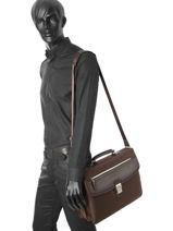 Briefcase 2 Compartments Etrier Brown ultra light LN11749-vue-porte