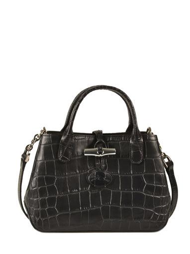 Longchamp Roseau Croco Sacs porté travers Noir