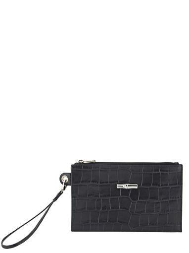 Longchamp Roseau Croco Pochette/trousse Noir