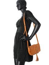Crossbody Bag Kristin Leather Pieces Brown kristin 17081972-vue-porte