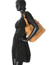 Shopper Studs Leather Basilic pepper Yellow studs 5694-vue-porte