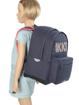 Backpack 2 Compartments Ikks Gray rock 63831-vue-porte