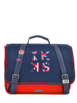 Satchel 1 Compartment Ikks Blue union jack russel 35854