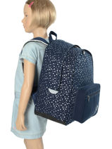 Backpack Ikks Blue st germain des pres 63822-vue-porte