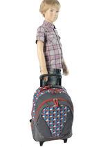 Wheeled Backpack 2 Compartments Cameleon Blue new basic NBA-BORR-vue-porte