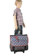 Wheeled Schoolbag 3 Compartments Cameleon Gray new basic NBACA41R-vue-porte