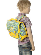 Satchel For Kids 1 Compartment Cameleon Green retro RET-CA32-vue-porte