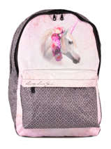 Backpack 2 Compartments With Matching Pencil Case Laissez lucie faire Pink flawless LFC12090