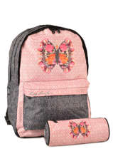 Backpack 2 Compartments With Matching Pencil Case Laissez lucie faire Pink butterfly LFD12090