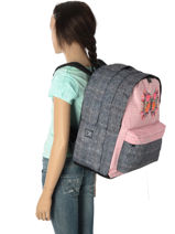 Backpack 2 Compartments With Matching Pencil Case Laissez lucie faire Pink butterfly LFD12090-vue-porte