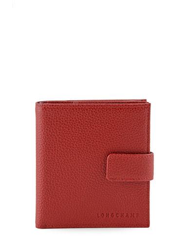 Longchamp Le foulonné Porte monnaie Rouge