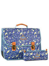 Satchel 2 Compartments With Free Pencil Case Poids plume Blue be all over color PCO15387