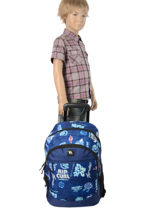 Wheeled Backpack 2 Compartments Rip curl Blue heritage logo BBPJC4-vue-porte