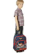 Wheeled Backpack 1 Compartment Planes Blue star 8HERO-vue-porte