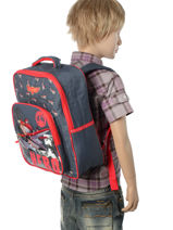 Backpack Mini Planes Blue star 11HERO-vue-porte