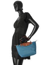 Longchamp Le pliage Sac porté main Bleu-vue-porte