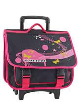 Wheeled Schoolbag 2 Compartments Miniprix Black music 1207
