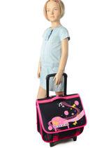 Wheeled Schoolbag 2 Compartments Miniprix Black music 1207-vue-porte