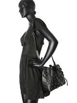 Crossbody Bag Pur Floral Leather Lancaster Black pur floral 528-55-vue-porte