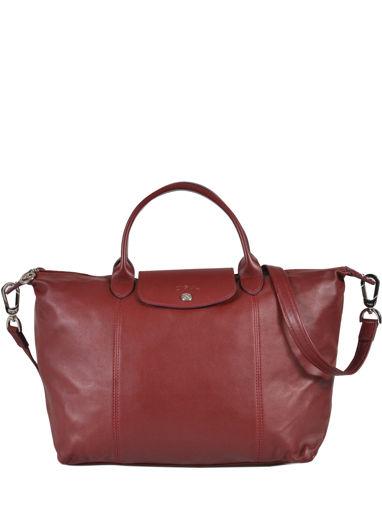 Longchamp Le pliage cuir Sac porté main Rouge