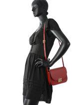Shoulder Bag Palma Leather Milano Red palma PA16125-vue-porte