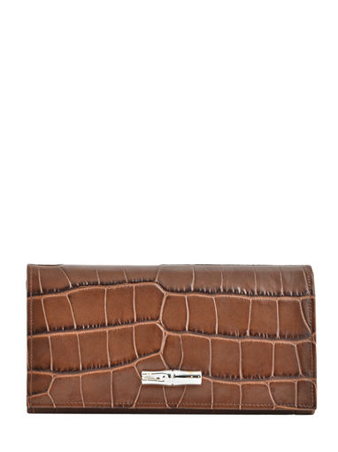 Longchamp Roseau Croco Portefeuille Marron