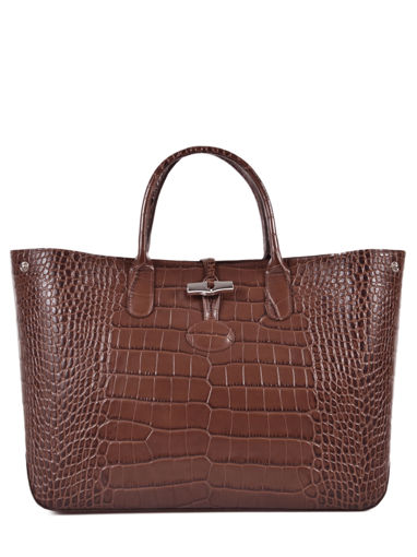 Longchamp Roseau Croco Handbag Brown