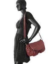 Crossbody Bag Vintage Leather Nat et nin Red vintage LOLA-vue-porte