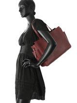 Shoulder Bag A4 Nat et nin Red vintage DAKOTA-vue-porte