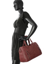 Sac Shopping Panama Cuir Nat et nin Rouge vintage PANAMA-vue-porte