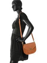 Shoulder Bag Mademoiselle Studs Lancaster Brown mademoiselle studs 573-48-vue-porte