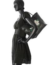 Shoulder Bag A4 Magnolia Lancaster Black magnolia 517-23-vue-porte