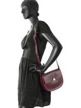 Shoulder Bag Nami Leather Lancaster Violet nami 530-08-vue-porte