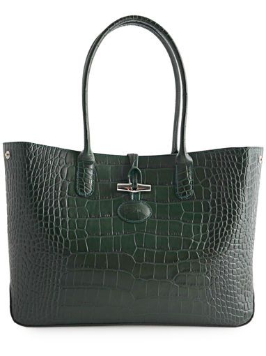 Longchamp Roseau style croco Messenger bag Green