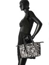 Sac Cabas Black And White Lulu castagnette Noir black and white HILDEMAN-vue-porte