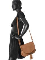 Shoulder Bag Pompon Miniprix Brown pompon F305-vue-porte
