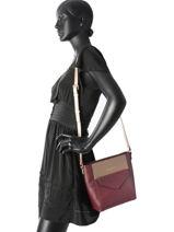 Shoulder Bag Adeline Leather Lancaster Violet adeline 527-19-vue-porte