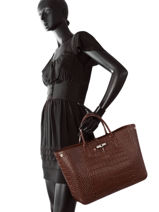 Longchamp Roseau Croco Handbag Brown-vue-porte