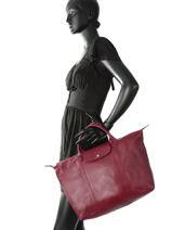 Longchamp Le pliage cuir Sac porté main Rouge-vue-porte