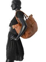 Sac Shopping Fisherboy Heritage Cuir Ikks Marron heritage BK95049-vue-porte