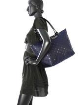 Longchamp Sac porté travers Bleu-vue-porte