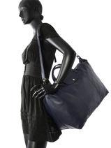 Longchamp Le pliage cuir Travel bag Blue-vue-porte