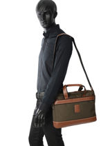 Longchamp Boxford Briefcase Green-vue-porte
