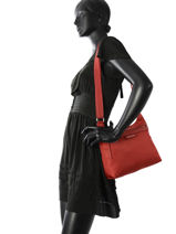 Longchamp Sacs porté travers Rouge-vue-porte