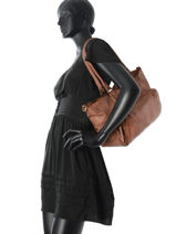 Shopping Bag Cow Leather Basilic pepper Brown cow BCOW01-vue-porte