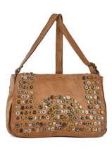 Shoulder Bag Studs Leather Basilic pepper Brown studs BSTU06