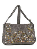 Shoulder Bag Studs Leather Basilic pepper Gray studs BSTU06