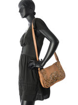 Shoulder Bag Studs Leather Basilic pepper Brown studs BSTU06-vue-porte